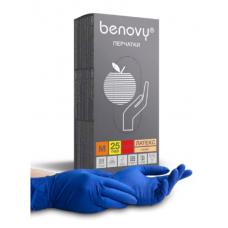 Перчатки латексные нестерильные неопудренные повышенной прочности синие BENOVY, 25 пар